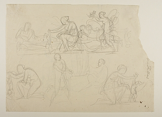 Thetis dypper Achilleus i Styx. Psyche og den sovende Amor. Sokrates arbejder på statuegruppen De tre gratier