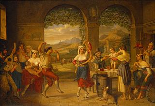 Saltarello-dans i et romersk osteri