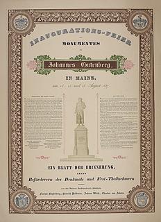 Plakat vedrørende afsløringen af Torvaldsens monument for Johann Gutenberg i Mainz