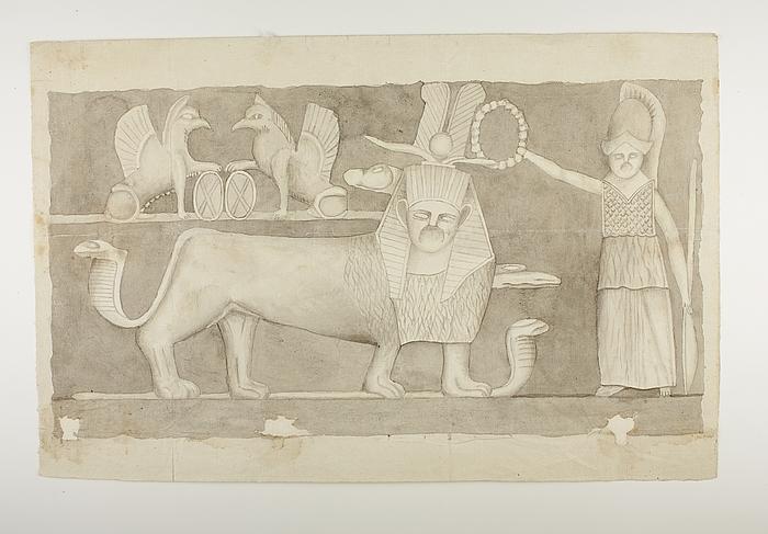 Kvindefigur med lanse og skjold kranser en løve-sfinx