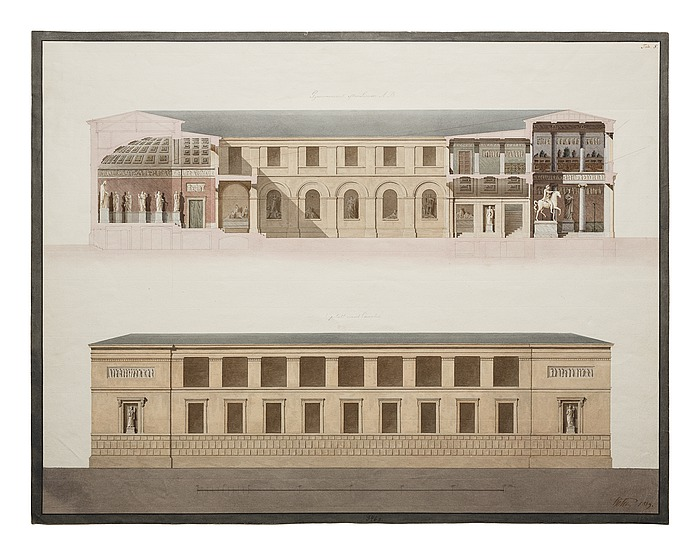 Thorvaldsens Museum, længdesnit og opstalt af facade mod Kanalen