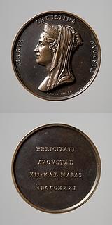 Medalje forside: Dronning Maria Christina af Begge Sicilier. Medalje bagside: Inskription