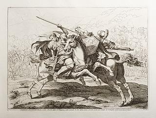 Combattando furiosamente Bruto, contro Arunte figlio di Tarquinio, nulla curando le loro difese, cadorio entrambi morti sul Campo di battiglia
