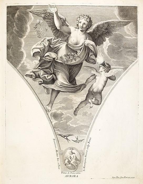 Hieronymus Frezza: Aurora, stik efter Francesco Albanis freske i Palazzo Verospi, side 9 i Picturæ Francisci Albani in Aede Verospi, Rom, 1704