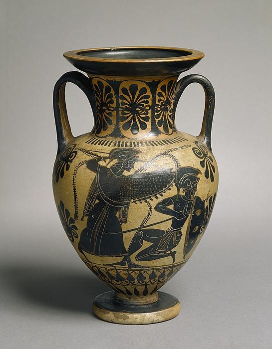 Amfora med Athene i kamp mod en gigant (A) og to krigere i kamp (B). Græsk