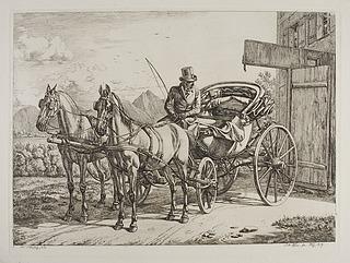 Herskabelig vogn med to heste spændt for