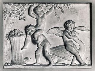 Amor med en svane og drenge, der plukker frugt. Sommeren