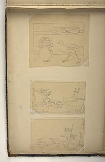 Vase og fugl. Amorin og hund jager en hjort. Amorin og hund jager en hare