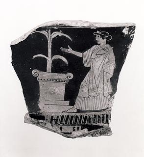 Krater med kvinde og et alter. Græsk