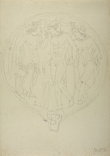 Kriger, vinget gudinde og Hermes/Turms
