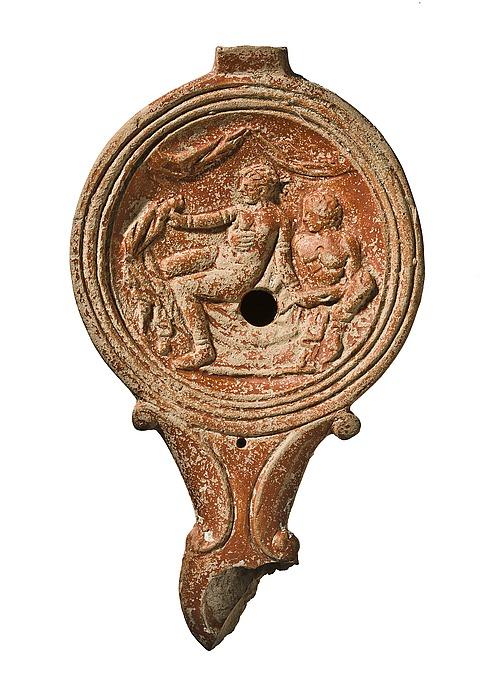 Lampe med erotisk scene. Romersk