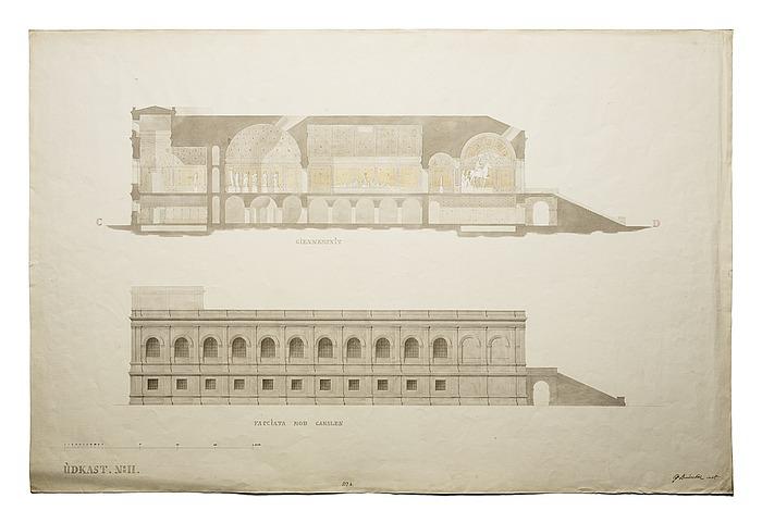 Thorvaldsens Museum, udkast No.2 til længdesnit og opstalt af facade mod kanalen