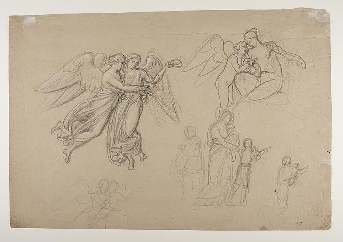Amor klager til Venus over et bistik. Hagar og Ismaël eller Kristi dåb? Svævende engle