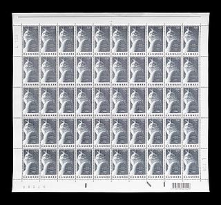 Ark med 50 danske frimærker med Thorvaldsens Jason med det gyldne skind