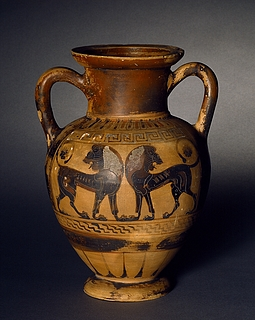 Amfora med to ridende ynglinge (A) og heraldiske løver (B). Syditalisk