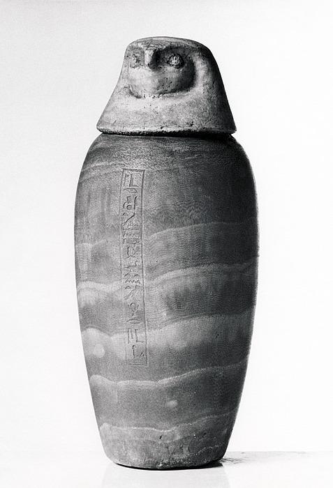 Kanopekrukke med falkehovedlåg og hieroglyfindskrift. Ægyptisk, Sentiden