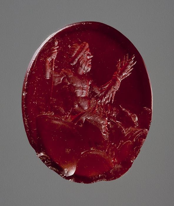 Zeus, siddende med tordenkile og scepter. Hellenistisk-romersk ringsten