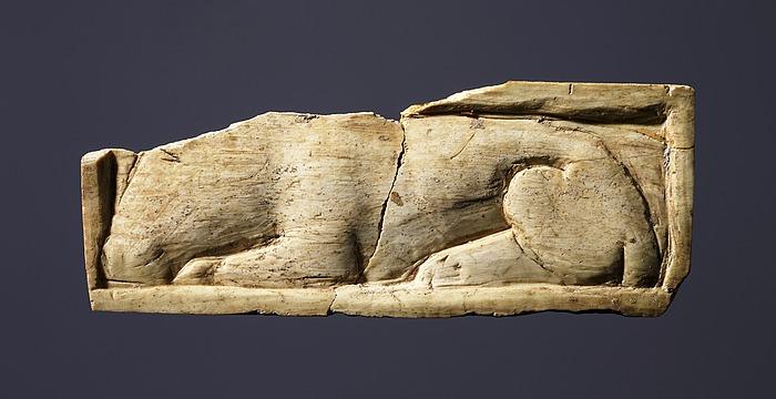 Æske med reliefdekoration af en liggende hund. Etruskisk