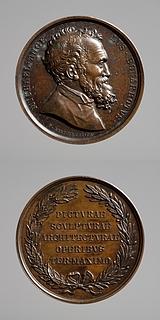 Medalje forside: Michelangelo. Medalje bagside: Inskription, krans af oliegren og laurbærgren