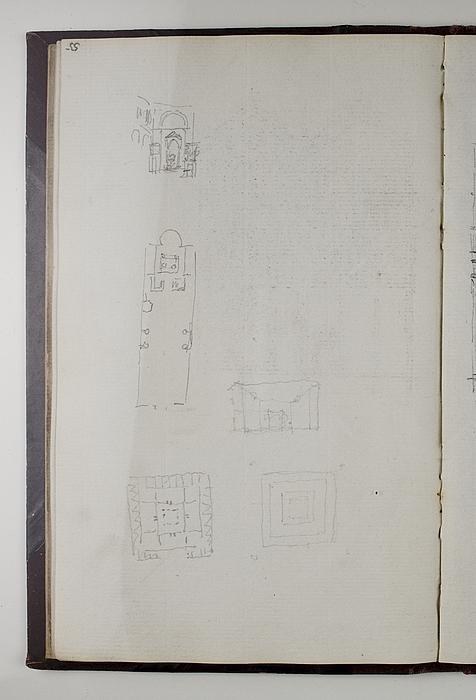 Kirke, grundplan og interiør. Plan og interiør fra et pompejansk hus (?)