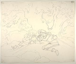 Don Quixote og Sancho Panza sover under et træ