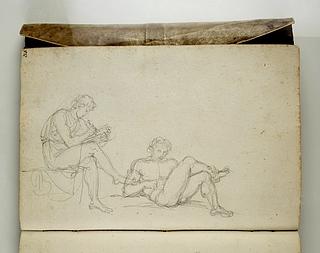 Tegnende mand i antik dragt. Liggende nøgen mand