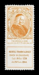 Svensk mærke med portræt af Thorvaldsen