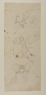 Svævende engel, der holder et klæde med portrætskitse, til ubekendt gravmæle