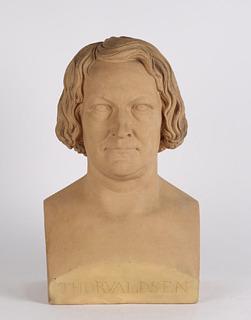 G. Borup: Buste af Thorvaldsen, terracotta, 32 cm, 1838, privateje