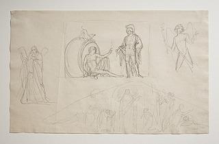 Alexander og Diogenes. Apostlen Andreas. Hymen eller Amor og Hymen. Trekantsgavl med Kristi opstandelse