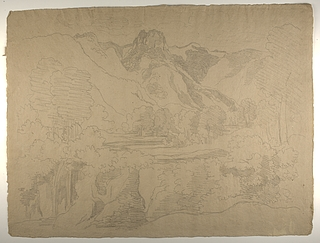 Italiensk bjerglandskab med vandfald
