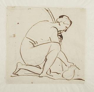 Figur som fylder en vandkrukke