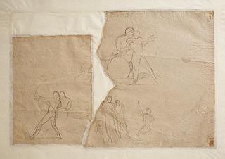 Chiron lærer Achilleus at skyde med bue. Herkules og Hebe (?)
