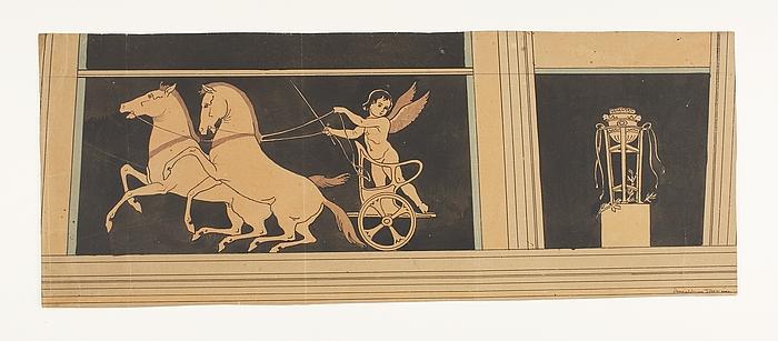 Amorin på vogn med dansende heste. Trefod