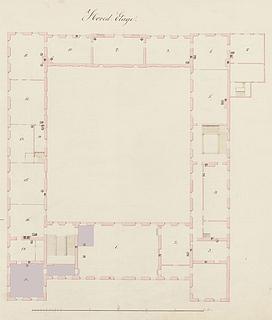 Grundplan over Charlottenborgs hovedetage, © Danmarks Kunstbibliotek