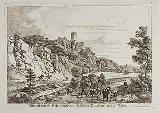 Ansicht von St. Helene und des Schloszes Rauhenstein bey Baden