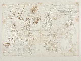 Figurstudier til gravmæle over Johann Philipp Bethmann-Hollweg. Udkast til gravmælts arkitektoniske udformning. Merkur eller siddende model