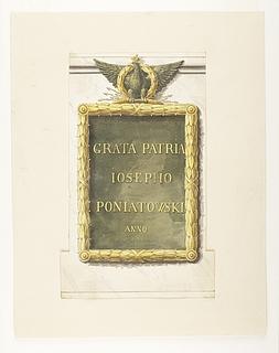 Indskriftsplade til rytterstatuen for Józef Poniatowski