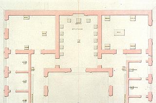 M. G. Bindesbøll: Østenden af Thorvaldsens Museum, 1839