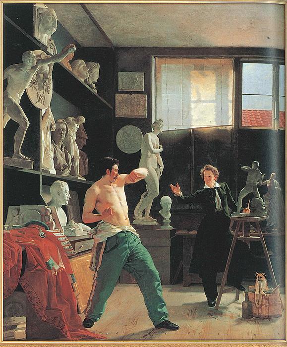 Wilhelm Bendz: En billedhugger arbejder efter levende model i sit atelier, 1827