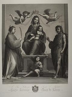Maria troner med Jesusbarnet mellem Sankt Stefan og Johannes Døberen