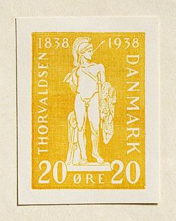 Prøvetryk af udkast til frimærke med Thorvaldsens Jason med det gyldne skind