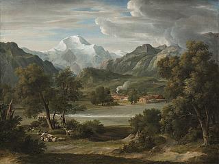 Lauterbrunnerthal ved Unterseen med bjerget Die Jungfrau