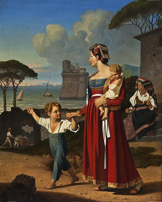 Ung kvinde med to børn og gammel kone med en ten, i baggrunden byen Nettuno