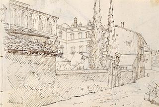 Wilhelm Marstrand: Palazzo Barberini og Thorvaldsens værksteder, 1837