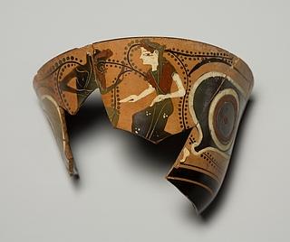 Kyathos med øjne, silen og nymfe. Græsk