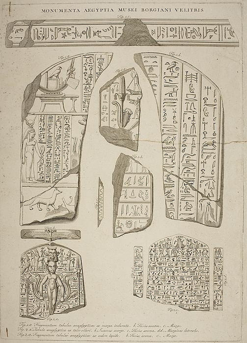 Fragmenter af relieffer med hieroglyffer