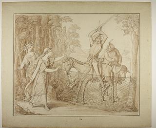 Don Quixote forhindres i at hugge et garn til fuglefangst over