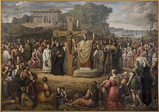 J.L. Lund: Kristendommens indførelse i Danmark, 1827, olie på lærred, 370 x 530 cm, Statsrådssalen, Christiansborg. Foto Ole Haupt