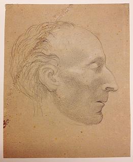 Bertel Thorvaldsen: Pius 7. på dødslejet, hvidt kridt, 184 x 150 mm, inv.nr. NG.K&H.B.05399, Nasjonalgalleriet, Oslo